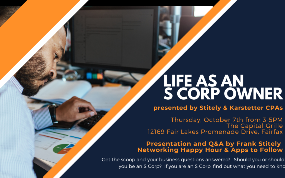 """S&K Sponsors October Networking Event –  """"Life as an S Corp Owner"""" Registration is Now Open"""