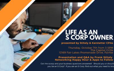 "Stitely & Karstetter Sponsors October Networking Event –   ""Life as an S Corp Owner"""